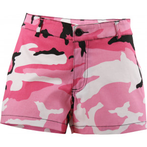 Pink Camouflage Women's Mini Short Shorts