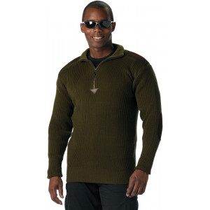 Olive Drab Military 1/4 Zip Up Acrylic Commando Sweater