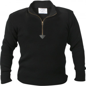 Black Military 1/4 Zip Up Acrylic Commando Sweater