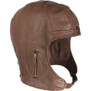 Brown Military Leather Tactical WWII Pilots Helmet