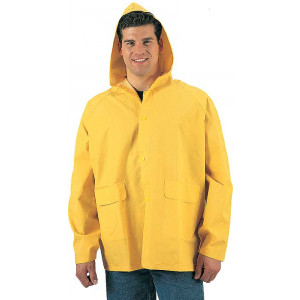 Yellow Heavy Duty PVC Hooded Rain Jacket