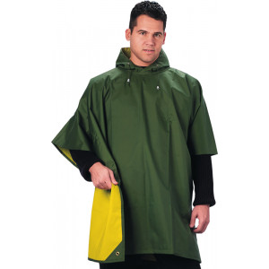 Olive Drab & Yellow Reversible Rubberized Nylon Poncho