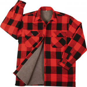 Red Heavyweight Buffalo Plaid Sherpa Lined Brawny Shirt