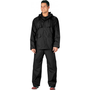 Black Microlite 2-Piece Lightweight Rain Suit