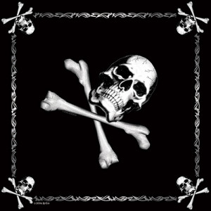"Black Jolly Roger Sport Biker Cotton 22"" x 22"" Bandana"