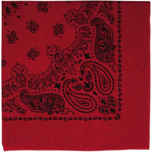 "Red & Black Trainmen Cotton Paisley Sport 22"" x 22"" Bandana Biker Headwrap"