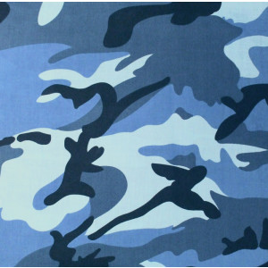 "Sky Blue Camouflage Military 22"" x 22"" Cotton Bandana"