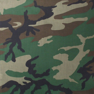 "Woodland Camouflage Military 22"" x 22"" Cotton Bandana"