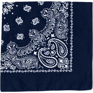 "Navy Blue Trainmen Cotton Paisley Sport 22"" x 22"" Bandana Biker Headwrap"