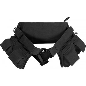 Black Canvas Fanny Pack (7 Pockets)