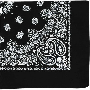"Black Trainmen Cotton Paisley Sport 27"" x 27"" Bandana Biker Headwrap"