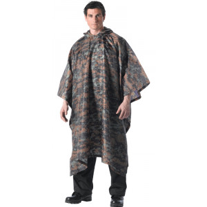 Woodland Digital Camouflage Rip-Stop Waterproof Hooded Poncho