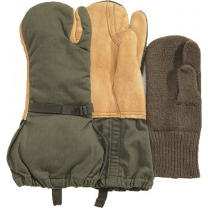 Olive Drab USED GI Surplus Leather Trigger Mittens With Liner