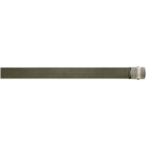 "Olive Drab Military Web Belt with Vintage Brass Roller Buckle (54"")"