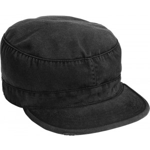 Black Vintage Military Patrol Fatigue Cap
