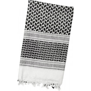 White & Black Shemagh Lightweight Arab Tactical Military Desert Keffiyeh Scarf