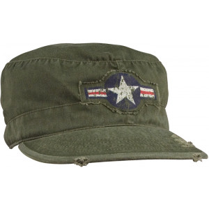 Olive Drab Vintage Air Corp Logo Military Patrol Fatigue Cap