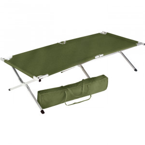 Olive Drab Over-Sized Aluminum Folding Cot with Carry Case