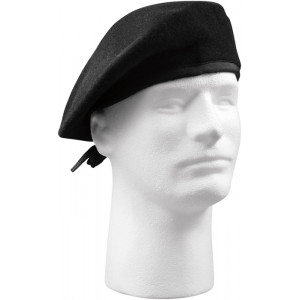 Black Military Wool w/ No Eyelets Beret Hat