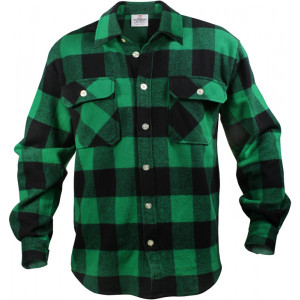 Green Extra Heavyweight Brawny Buffalo Plaid Flannel Shirt