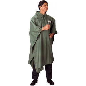 Olive Drab Rip-Stop Waterproof Hooded Poncho