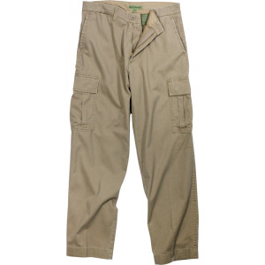 Khaki Vintage Military Cargo Flat Front BDU Fatigue Pants