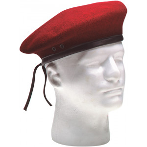 Red Military Wool Monty Beret Hat w/ Eyelets