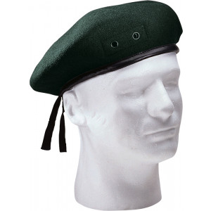 Green Military Wool Monty Beret Hat w/ Eyelets
