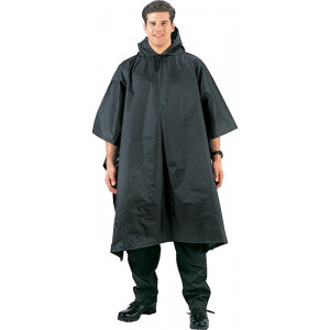 Black Military Rip-Stop Waterproof Hooded Poncho