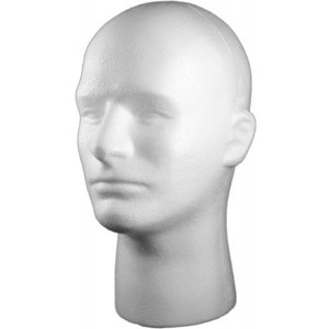 White Male Face Foam Styrofoam Head Display Fashion Stand