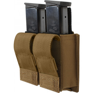 Coyote Brown Military Double 9 MM Pistol Mag MOLLE Pouch
