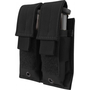Black Military Double Pistol Mag MOLLE Pouch