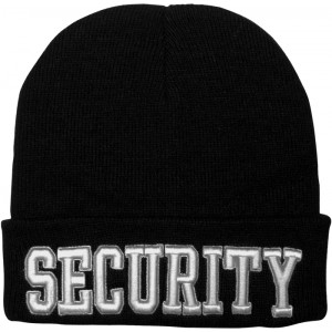 Black Law Enforcement Security Deluxe Knitted Winter Hat Acrylic Watch Cap