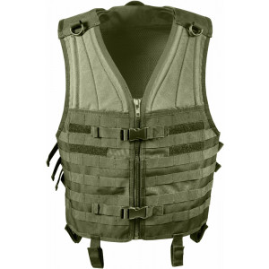 Olive Drab MOLLE Modular Military Tactical Assault Vest