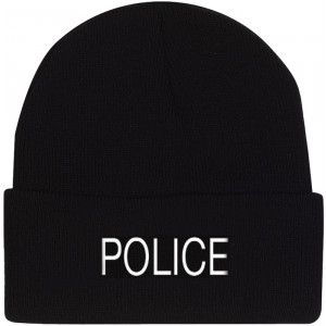 Black Police Embroidered Knitted Winter Hat Acrylic Watch Cap
