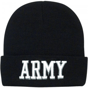 Black Military Army Deluxe Knitted Winter Hat Acrylic Watch Cap