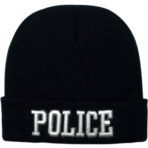 Black Law Enforcement Police Deluxe Knitted Winter Hat Acrylic Watch Cap