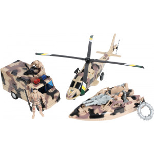 Super Warrior Camouflage Play Helicopter Truck Boat & Soldier Toy Set