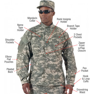 ACU Digital Camouflage Military Combat Rip-Stop Fatigue Shirt