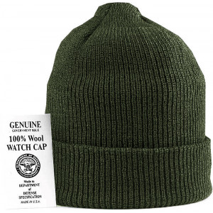 Olive Drab Military Winter Beanie Hat Wool Watch Cap USA Made