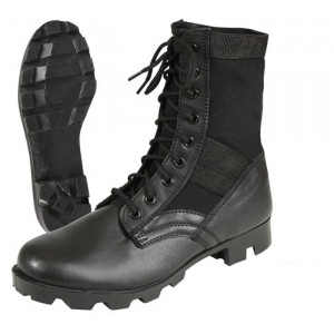 Black Leather Military Steel Toe Jungle Boots
