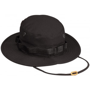 Black Military Rip-Stop Wide Brim Boonie Hat