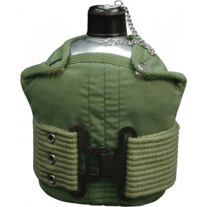 Aluminum 1 Quart Canteen with Olive Drab Cover & Pistol Belt