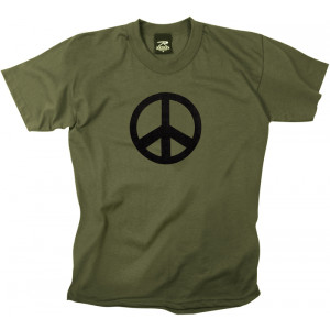 Olive Drab Military Peace Sign Short Sleeve T-Shirt