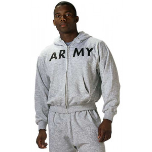 Grey ARMY Physical Training Zipper Sweatshirt