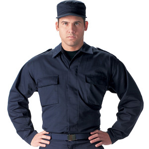 Navy Blue Military 2 Pocket BDU Polyester/Cotton Fatigue Shirt