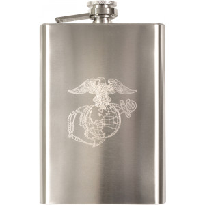Silver Globe & Anchor Engraved Flask