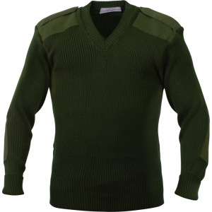 Olive Drab Military Commando Acrylic V-Neck Sweater