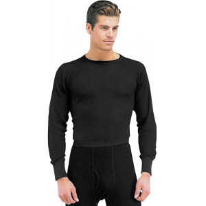Black Thermal Knit Underwear Undershirt Top