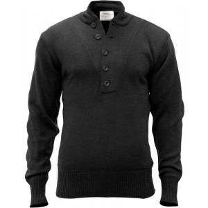 Black Military Acrylic 5 Button Style Tactical Sweater